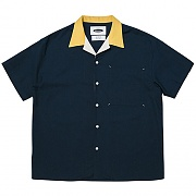 Multi Panel Open-collar Shirts  (navy)