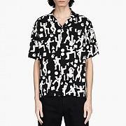 (I024569)S/S WORLD PARTY SHIRT-WORLD PARTY PRINT BLK/WHT