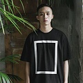 Simple Over-fit Square Print Black T-Shirts