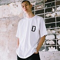 Simple Over-fit D TRAP Logo Print White T-Shirts