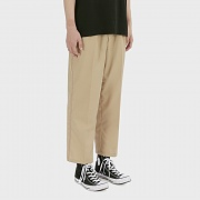 Wide-leg Stitched Band Trousers [Beige]