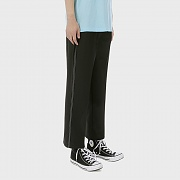 Wide-leg Stitched Band Trousers [Black]
