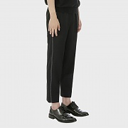 Tapered Stitched Band Trousers [Black]