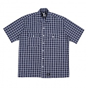 Basic Chek Short Sleeved Shirts - Navy
