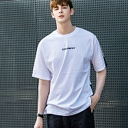 Britch Basic Tape contrast T-Shirts_White