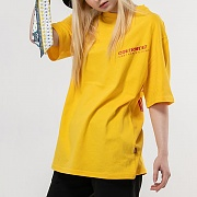Diagonal Logo Print T-Shirts_Yellow