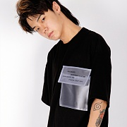 [weksnoop] Black PVC POCKET Overfit T-shirt