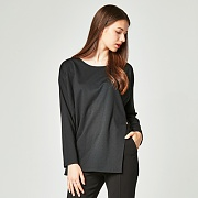 FRONT SPLIT T-SHIRT BLACK