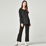 LONG WIDE PINTUCK SLACKS BLACK