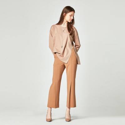 LONG WIDE PINTUCK SLACKS BROWN