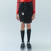 TAG POINT SKIRTS-BLACK DENIM