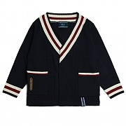V Neck Cable Knit Cardigan_navy