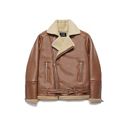 Over Size Rider Mouton Jacket_Rich Brown
