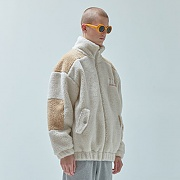 양털 TWO TONE SHEARLING JACKET_beige