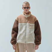 양털 COLOR BLOCK JACKET_brown