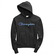 (GF68)RW SCRIPT CHAINSTITCH PO HOOD-BLACK