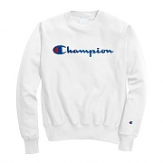 (GF70)RW SCRIPT CHAINSTITCH CREW-WHITE