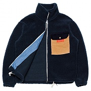 Mixed Fleece Zip-up _navy