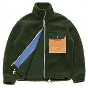 Mixed Fleece Zip-up _green