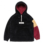 Color-block Fleece Pull-over Parka _black