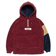 Color-block Fleece Pull-over Parka _red