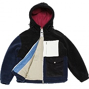 Color-block Heavy Fleece Parka _black