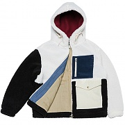 Color-block Heavy Fleece Parka _white