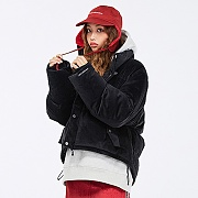 FANCY VELOUR SHORT DOWN JACKET BLACK