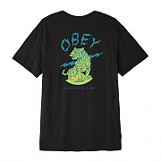 (163081879) OBEY ELECTRIC FURY TIGER TEE-BLK