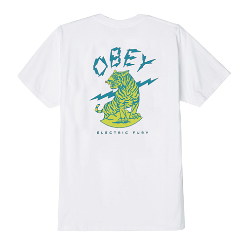 (163081879) OBEY ELECTRIC FURY TIGER TEE-WHT