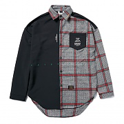 STIGMA SNAKE OVERSIZED CHECK SHIRTS BLACK