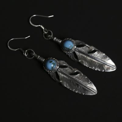 Feather with Turquise Earring