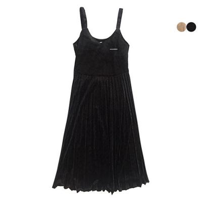 VELVET PLEATS DRESS(2COLOR)*여성용