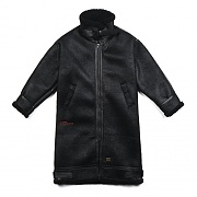 STGM OVERSIZED MOUTON LONG JACKET BLACK
