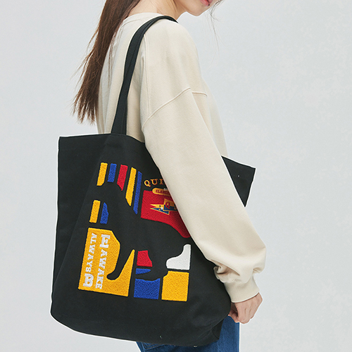 Flag Panel Embroi Canvas Bag black