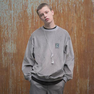 UNISEX CORDUROY PATCH SWEAT SHIRTS GRAY