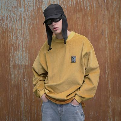 UNISEX CORDUROY PATCH SWEAT SHIRTS MUSTARD
