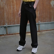 UNISEX BELLY WIDE SLACKS BLACK