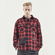 STRING POCKET CHECK SHIRTS RED