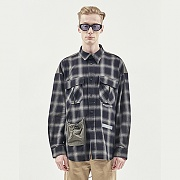 STRING POCKET CHECK SHIRTS GREY