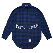 STIGMA MUSK OVERSIZED CHECK SHIRTS BLUE