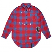 STIGMA PANTHER OVERSIZED CHECK SHIRTS RED