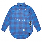 STIGMA PANTHER OVERSIZED CHECK SHIRTS BLUE