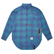STIGMA PANTHER OVERSIZED CHECK SHIRTS GREEN