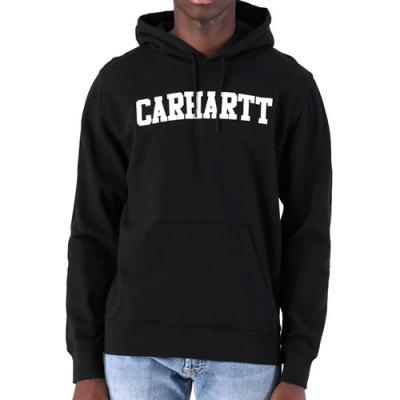 (I024669) HOODED COLLEGE SWEATSHIRT-BLACK/WHITE