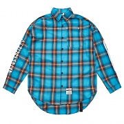 STIGMA HALLUCINATION OVERSIZED CHECK SHIRTS BLUE
