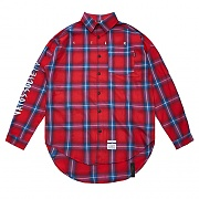 STIGMA HALLUCINATION OVERSIZED CHECK SHIRTS RED
