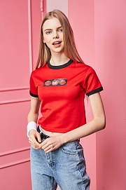 APPLE&CANDY GRAPHIC CROP(RED)