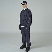 Woven line training pants-navy