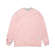 STIGMA SIDE HALF OVERSIZED MEDIUM SWEAT CREWNECK PINK